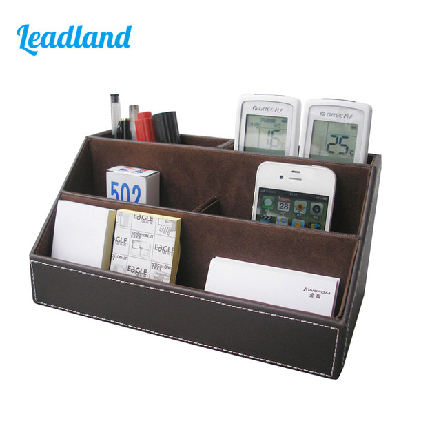 PU Leather Desk Stationery Storage Holder Container Remote Control  Organizer Box Office Supplies A026