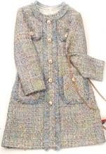 2019 Autumn winter womens slim fit tassels dress Chic long sleeves tweed A567