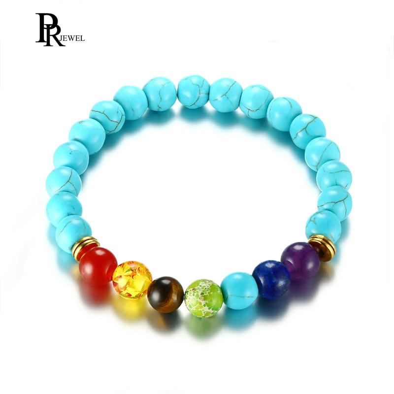 Rainbow Stone Bracelet Crystal Healing Reiki Energy Balancing Stretch Bracelet Round Bead