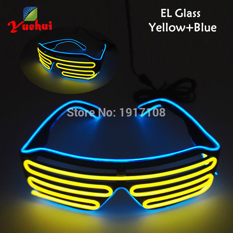 17 Style DC-3V Flashing 2 COLOR Mixed Light up EL wire Shutter Glasses LED Glasses For Club Wedding Festival Party Decoration