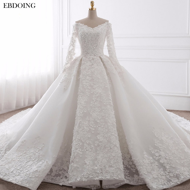 EBDOING Wedding Dress Ball Gown Sweetheart Neckline Chapel Train Custom Made Plus Size Bridal Gown Vestidos De Novia