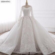 EBDOING robe De mariée sur mesure, robe De mariée en grande taille, décolleté amoureux, chapelle, avec traîne