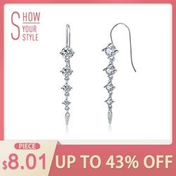 ORSA JEWELS Pure 925 Sterling Silver Earrings Women Long Dangle AAA CZ Trendy New Jewelry Christmas Gifts For Girls SE52
