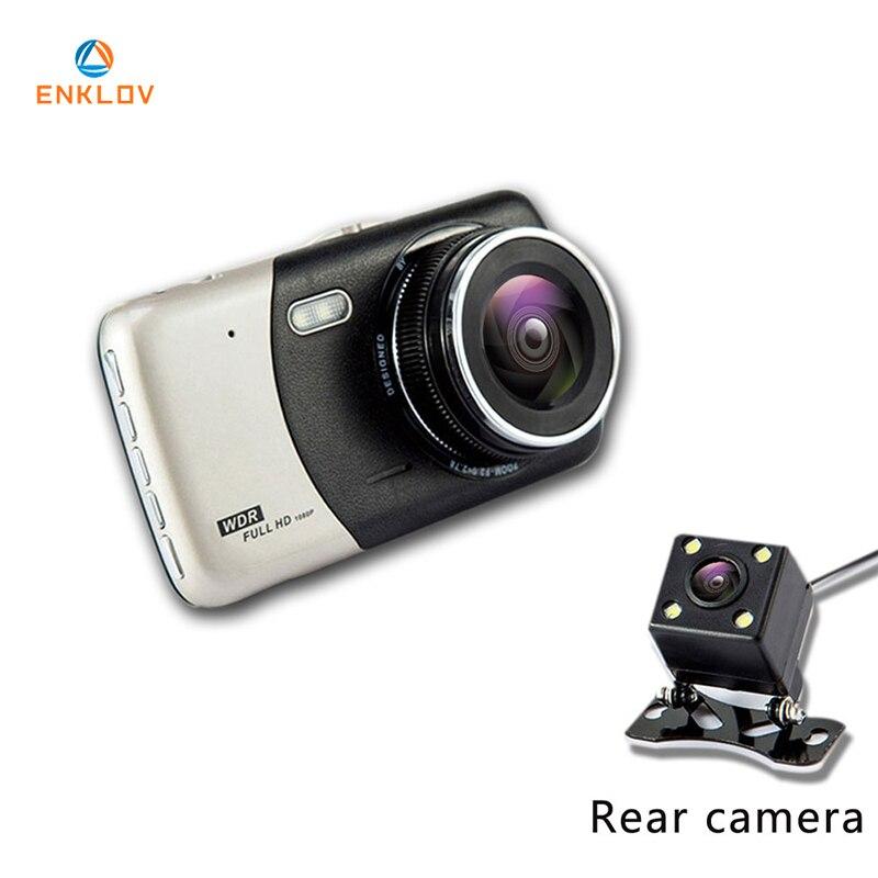 ENKLOV 4,0 дюймов ips Экран Видеорегистраторы для автомобилей автомобиля Камера Full HD 1080p видео 170 градусов T810 регистраторы двойной Запись тире Кам...