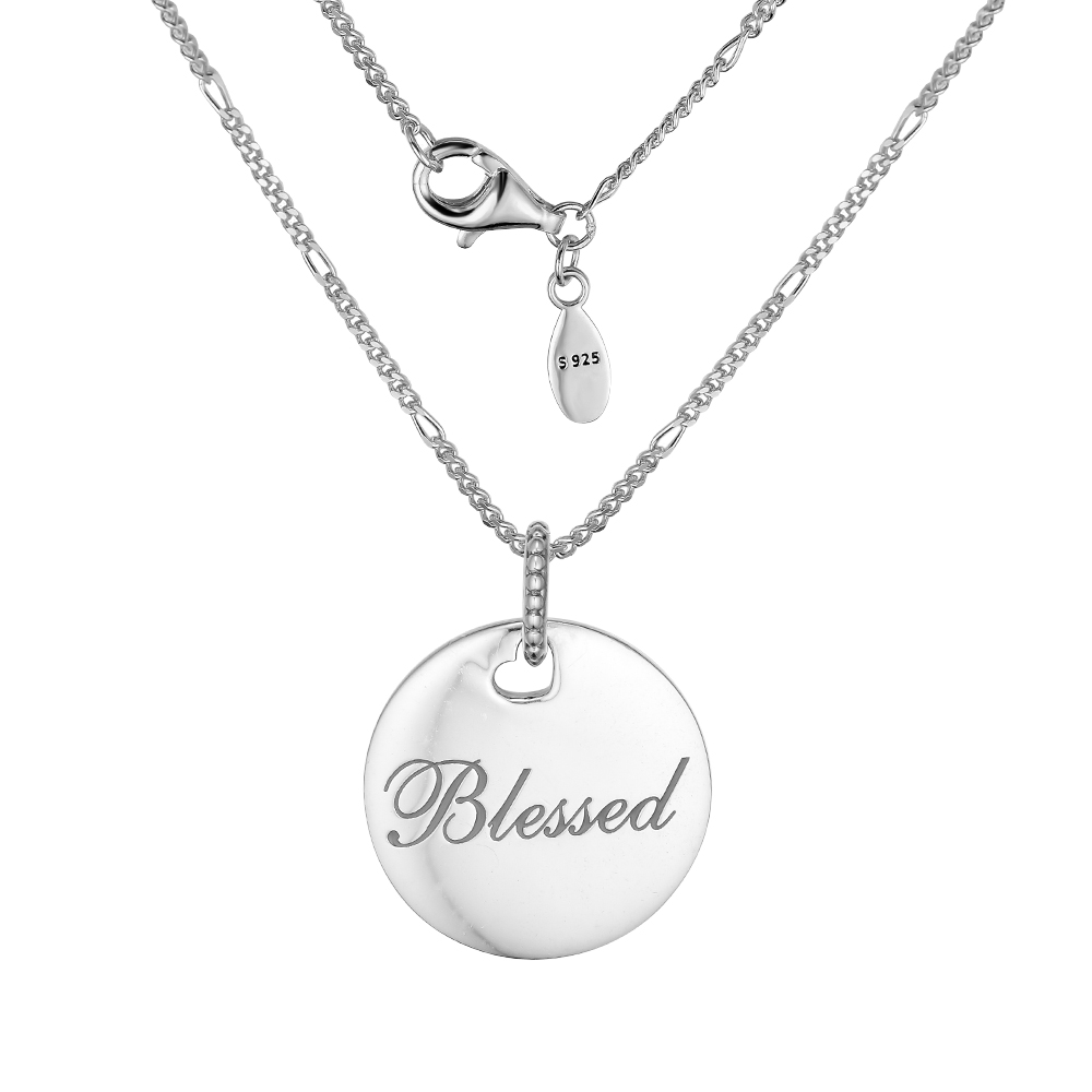 Blessed Disc Necklace with Gray Enamel 100% 925 Sterling Silver Jewelry Free Shipping