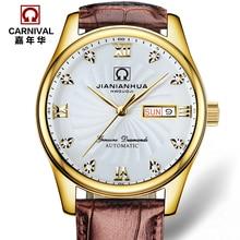 Роскошные Водонепроницаемые часы мужчины Сапфировое стекло Военная кожаный ремешок Дата Неделя автомат часы relogio masculino