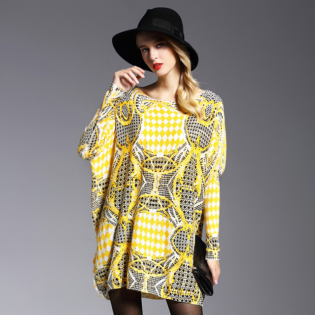 XIKOI  Spring Oversize Women Sweater Long Batwing Sleeve Female Yellow Fluffy Casual Print Women Clothes Pullovers Clothing 2019 2