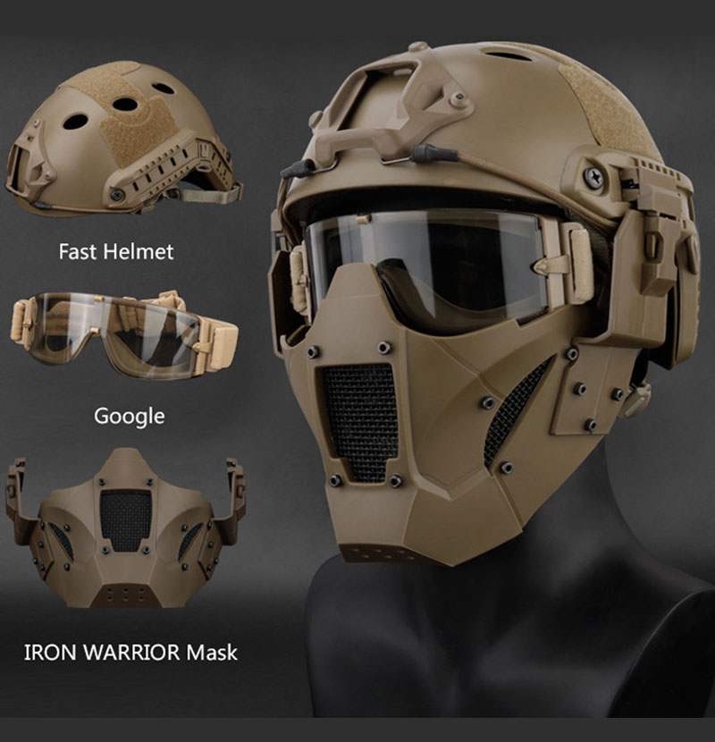 Multi Function Iron Mesh Tactical Mask with Fast Helmet and Tactical Goggles Airsoft Hunting Motorcycle Sport Play|Helmets| |  - title=