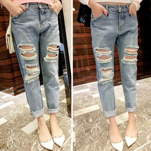 8f80d5a11c8 2015 New Womens Jeans Fashion Design Ripped Distressed Skinny Boyfriend  Acid Washed Cropped Hole Low-rise Pencil Jeans 5092