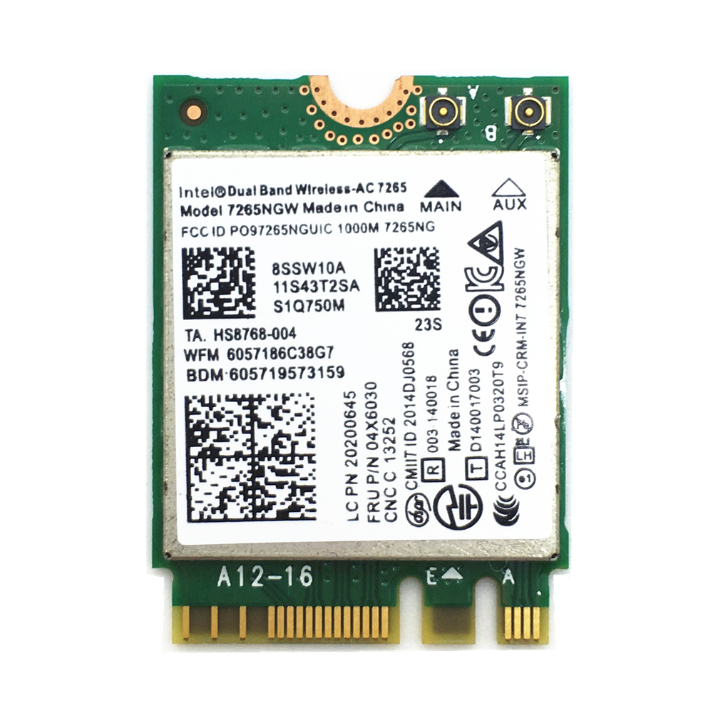 Pour 7265ngw Double Bande Intel 7265 Sans Fil 802.11ac 867 Mbps 2x2 Ngff Bluetooth 4.0 carte 04x6030 Pour E450 W550 T550 X250 T450