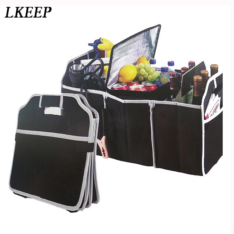 Black Large Capacity Car Storage Bags Tools Organizer Cosmetic MakeUp Bags Cases Container Box Folding Trunk Storage Bag Toolbox