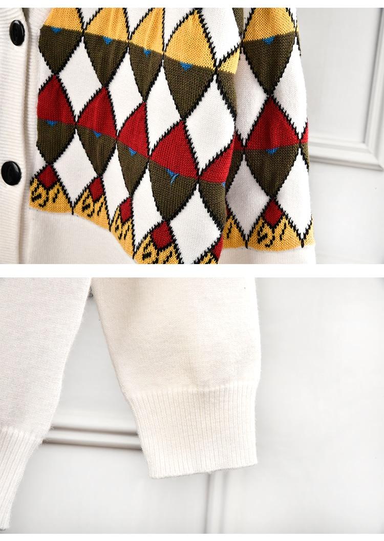 Marque de luxe chandail tricoté pour les femmes Vintage col en V diamant treillis couleur correspondant Cardigans tricotés Beige - 5