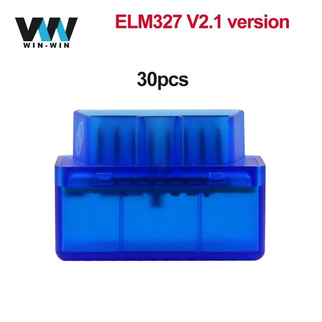 30 個 elm 327 V2.1 OBD2 Bluetooth スキャナ OBD 2 OBD2 車診断自動ツール ELM327 V2.1 Android odb2 bluetooth コードリーダー