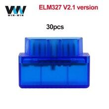 Автомобильный диагностический сканер ELM 327 V2.1 OBD2, 30 шт., Bluetooth сканер OBD 2 OBD2, автомобильный диагностический инструмент ELM327 V2.1 для Android odb2, Bluetooth считыватель кодов