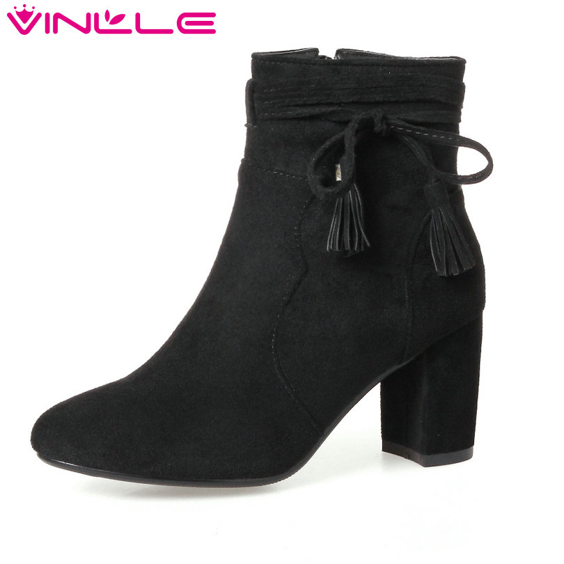 VINLLE 2018 Women Shoes Winter Ankle Boots Pointed Toe Square High Heel Zipper Butterfly-Knot Ladies Motorcycle Shoes Size 34-43 vinlle 2018 women boot ankle boots square high heel scrub pu leather pointed toe zipper ladies motorcycle shoes size 34 43
