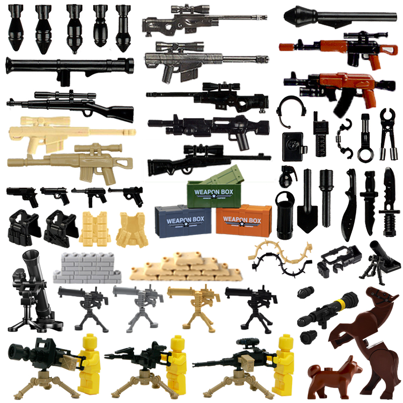 2018 Weapon Pack MOC Gun Building Blocks City Police Swat Team WW2 Soldier Accessory Figure Series Toys LegoINGlys Military Army military city police swat team army soldiers with weapons ww2 building blocks toys for children gift