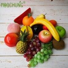 MOOCHUNG реалистичные искусственные фрукты пены вечерние партия Кухня Декор сосны яблоко граната яблоко банан манго Виноград Груша