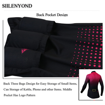 Siilenyond 2019 Women Winter Long Sleeve Cycling Jersey Keep Warm MTB Bicycle Cycling Clothes Thermal Fleece Cycling Clothing 4