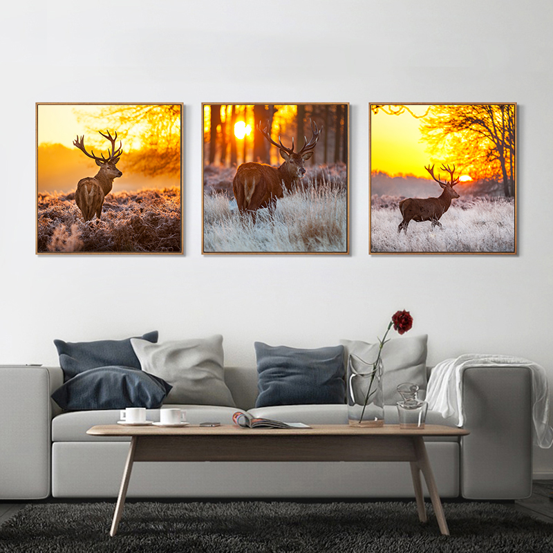 Canvas Art Painting Nordic Natural Deer Pine Forest Wall
