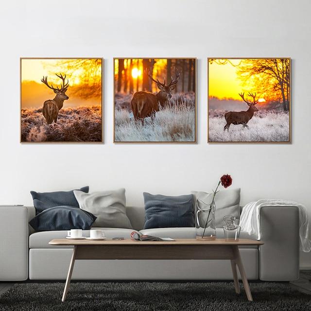 Leinwand Kunst Malerei Nordic Natrliche Deer Kiefernwald Wandbilder  Wohnzimmer Kunst Dekoration Bilder Leinwand Malerei.