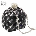 Silver Plated Clear & Black Crystal Striped Women Aluminum Mini Coin Purses Long Metal Chains Shoulder Bags Evening Party Clutch