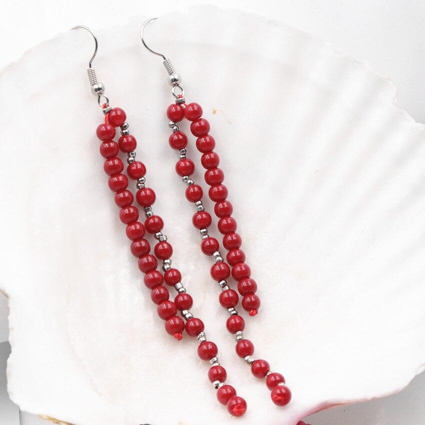 Bohemia Ethnic Tassels Dangle Earrings Womens Girls Elegant Jewellery Handmade Eardrop Light Red