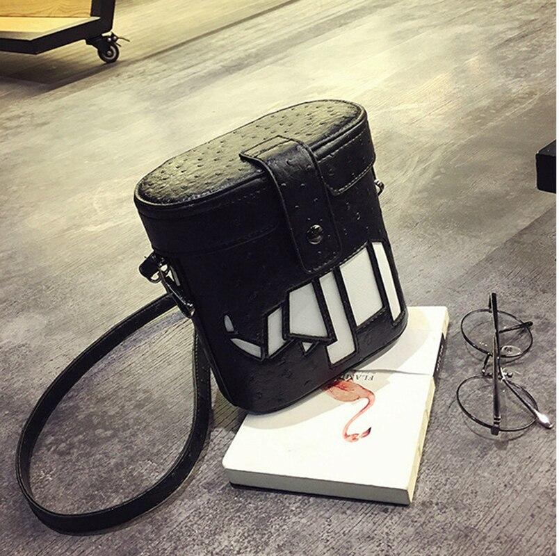 ФОТО 2017 New Fashion Ostrich Pattern Bucket Bag Personality Female Barrel Shaped Shoulder Bag Messenger Bag Women Crossbody Bags