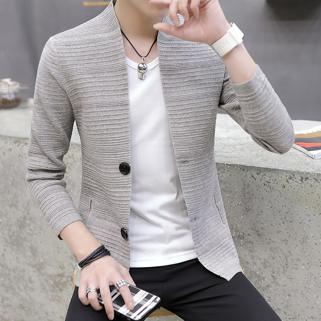 HOO  2021 knitting cardigan male v-neck outer wear in the spring and autumn light fashion handsome recreational sweater 1