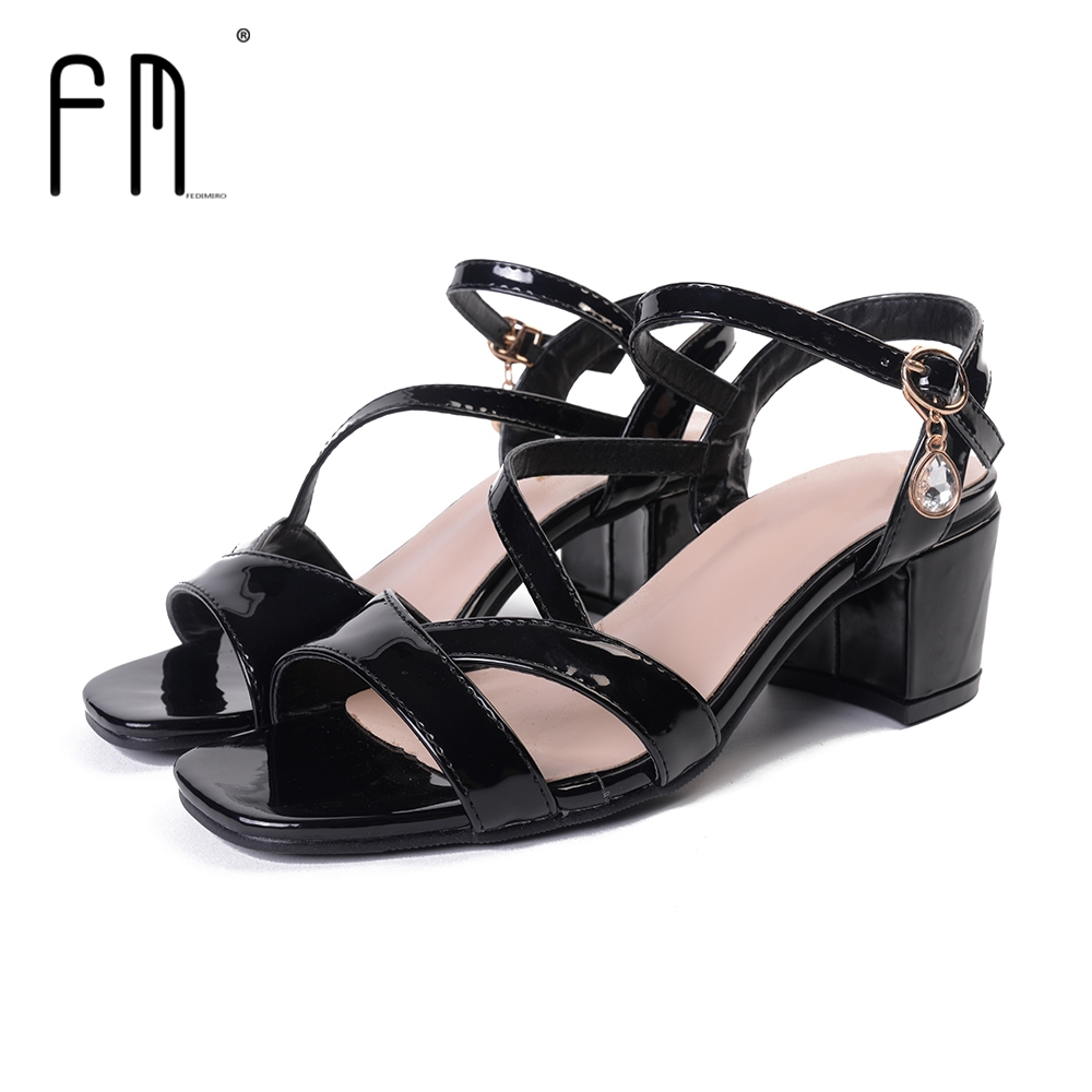 Black sandals rhinestones - Aliexpress Com Buy Fedimiro 2017 Summer High Quality Pu Sandals Rhinestones Shoes Women Sexy Black Sandals Party Shoes Buckle Strap Thick Pumps From