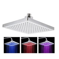 New arrival !8 Inch 200*200cm ABS Water Powered Rain Led Shower Head Without Shower Arm.Bathroom 3 Colors Led Showerhead