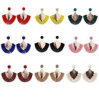 Ladies Creative Fashion Tassel Earrings Fan Shaped Women Earrings Long Tassel Dangle Drop Earrings Fringe Ear Decorations M13