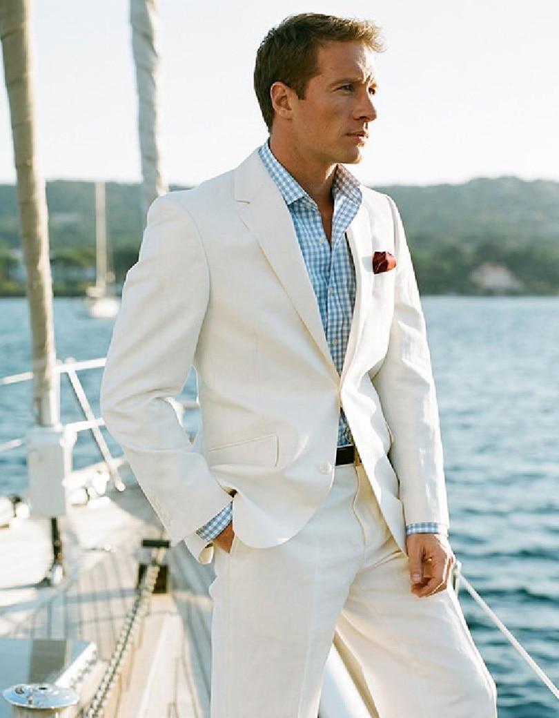 Achetez en gros ivoire costume en lin en ligne des grossistes ivoire costume en lin chinois Costume decontracte mariage