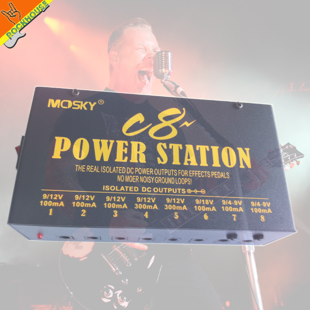 Mosky C8 Isolated Pedal power supply analog Power Supply 8 Isolated Output 4-9V adjustable 12V 18V optional voltage protection хай хэт и контроллер для электронной ударной установки roland fd 9 hi hat controller pedal