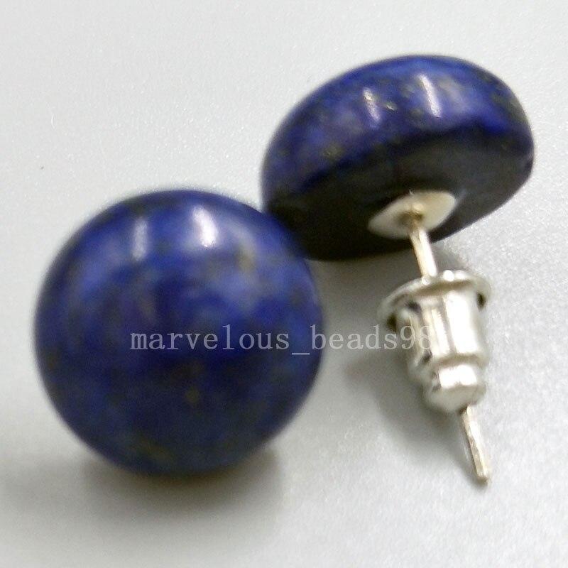 Women  Vintage Lapis lazuli Round beads Dangle Earrings Jewelry