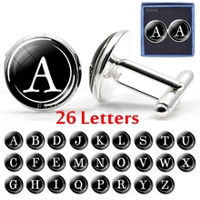 Mens Fashion 26 Letters Cufflinks Initial Letter Glass Dome Silver Pleated Personalized Gift for Men Box Packaging