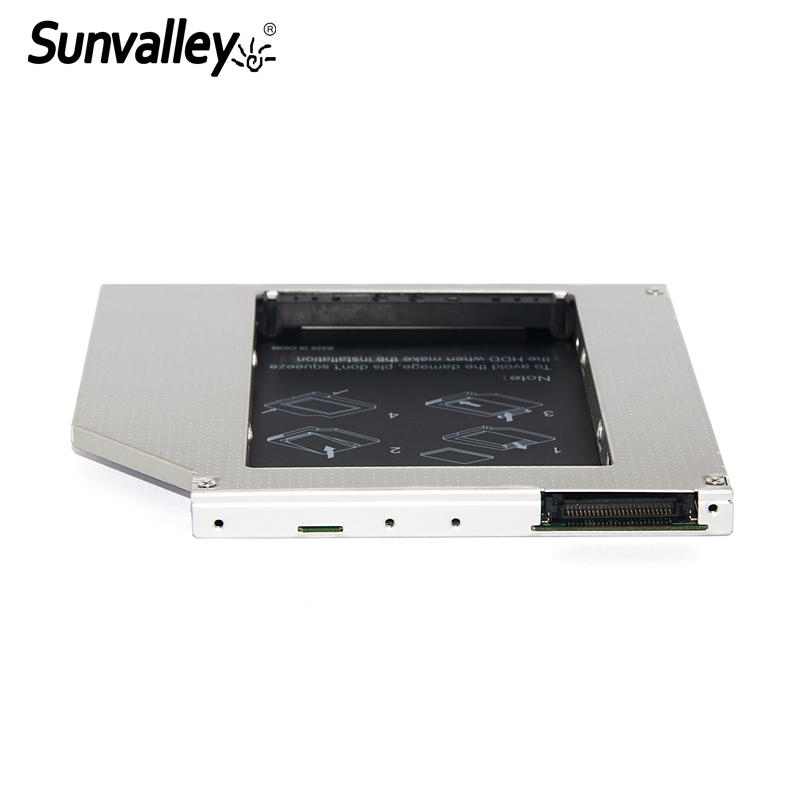 Sunvalley 9.5mm Aluminum Metal Material 2nd HDD Caddy For Laptop Macbook DVD/CD-ROM 2.5 SSD HDD Case SATA with Screwdriver zheino sataiii 256gb ssd with aluminum 12 7mm caddy laptop sata ssd hdd frame caddy adapter bay cd dvd rom optical for laptop