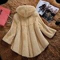 2016 women's hooded long mink fur coat Korean mink jacket outerwear coats winter fashion luxury clothing large size 4XL 5XL D22