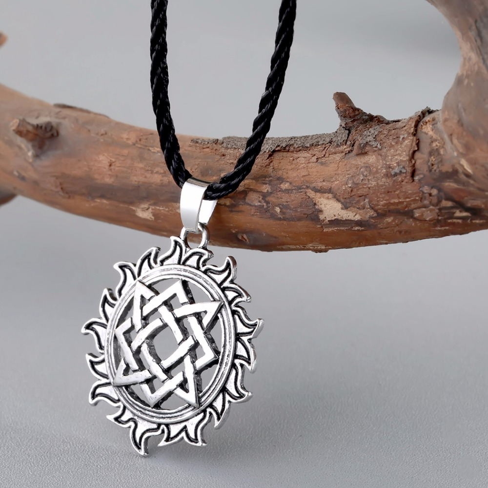 CHENGXUN Viking Solar Amulet pendant Necklace Nordic Charm Slavic Star Lada Sign Pendants Talisman Best Friend
