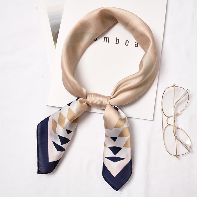 70*70cm Fashion Women Small Print Silk Scarf Striped Headwear Handle Bag Ribbon Brand Scarves Small Squares S