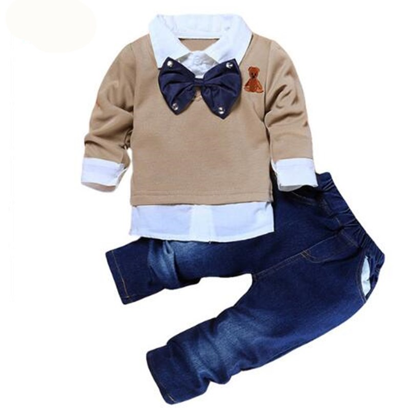 Baby Boy Spring Autumn Gentleman Clothing Sets Suit Newborn Baby Bow Tie T-shirt + Pants 2 pcs Set Cotton Baby Clothes vlinder 2017 new 2 sets of tiger autumn and winter male baby cotton long sleeved t shirt tie with harem pants boy suit