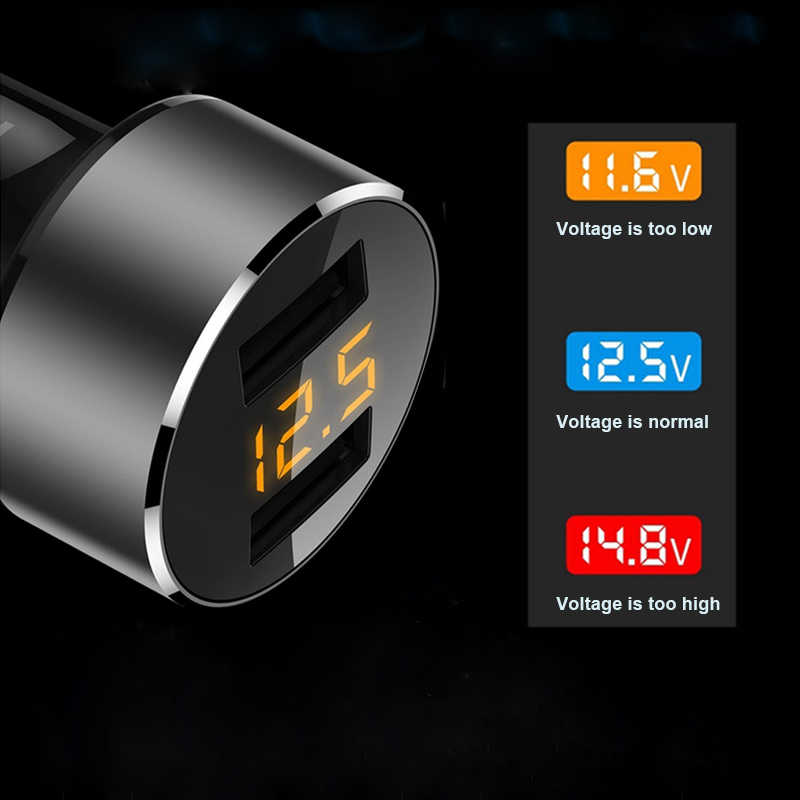 Auto 3.6A 2 Port Dual USB Car Charger Digital Led Display For Mobile Phone Voltage Charging Adapter For Iphone Xiaomi
