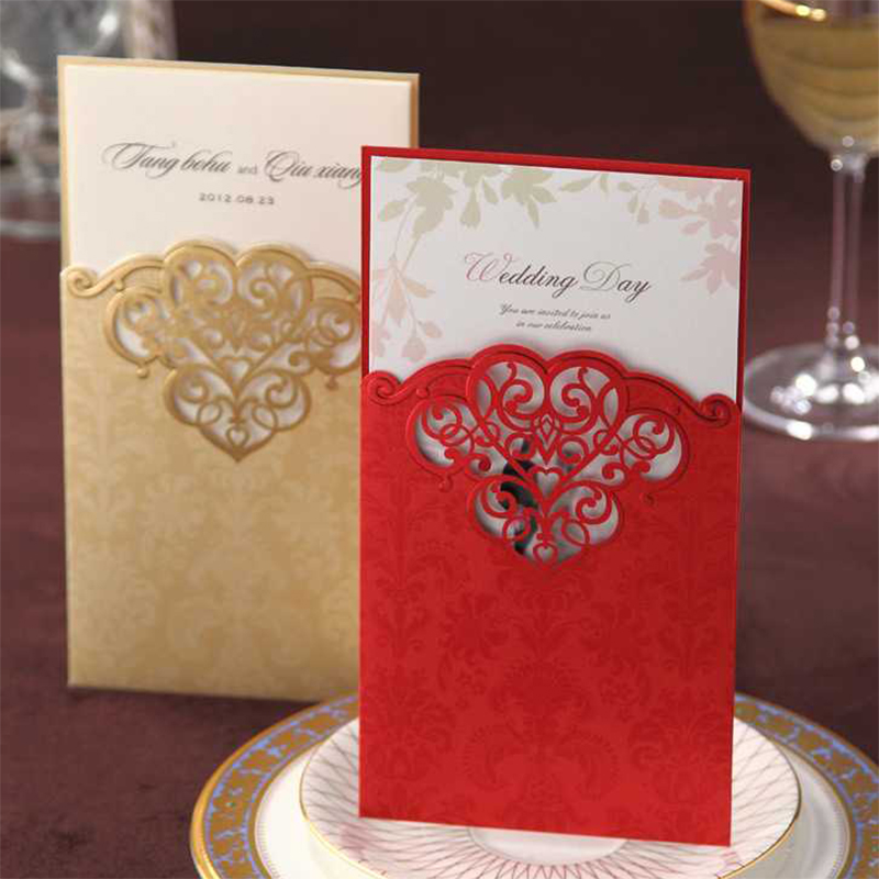 Design Laser Cut Love Heart Gold Wedding Invitation Printing Blank Paper Cards Pocket Free Message Invitations Kit 50 100 Set square design white laser cut invitations kit blanl paper printing wedding invitation card set send envelope casamento convite