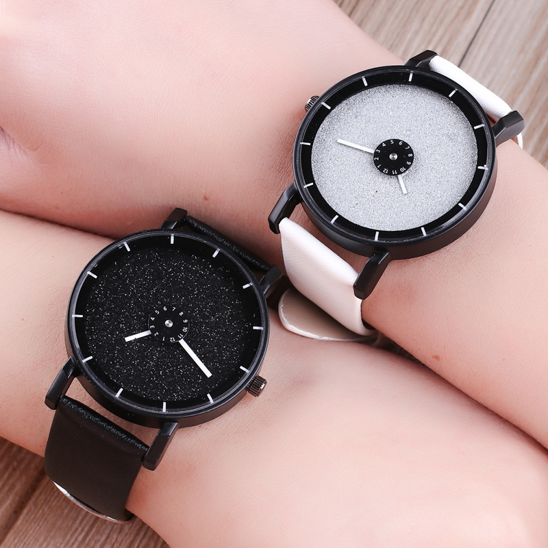 2019 New Fashion Creative Wrist Watches Turn Dial Leather Casual Quartz Watches Women Men Black White Clock Couples Watch Clock