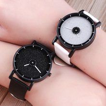 2019 new Fashion Creative wrist watches Turn dial Leather casual quartz watches women men black white clock Couples watch Clock fashion jis brand hollow black white pu leather japan core quartz wrist watch hours clock for women men unisex