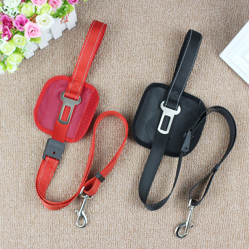 Adjustable Two Functions Reflective Pet Dog Traction Rope Dog Leash Dog Seatbelt Pet Safety Belt