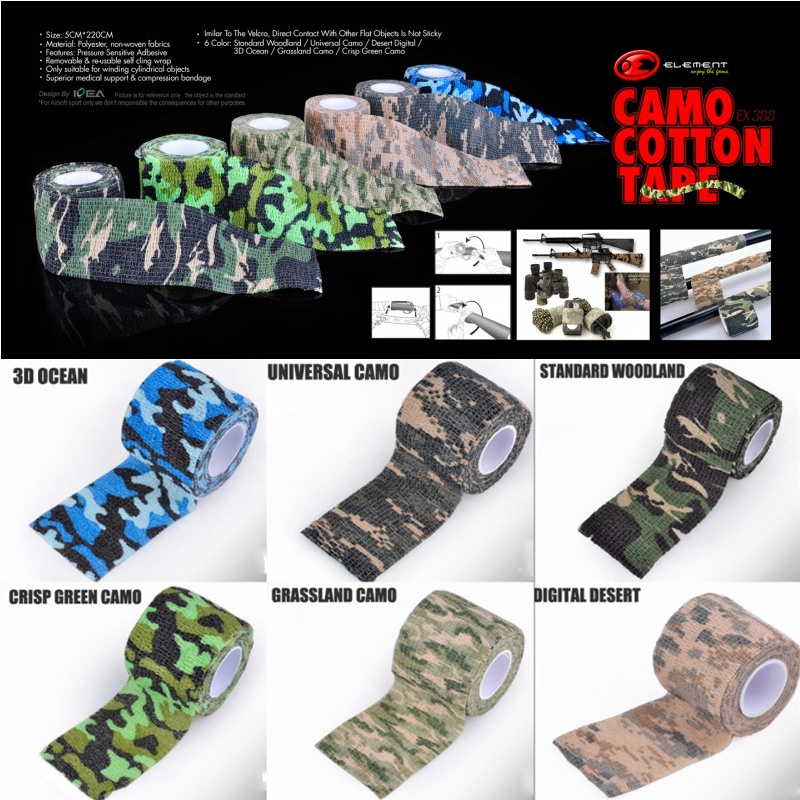 Element Camo Elastic Camo Cotton Tape Military Airsoft Paintball Rifle Gun Accessories EX388