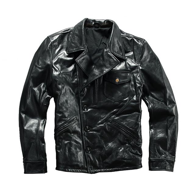 A1810 Read Description ! Asian size super quality men's genuine cow leather coat vintage cowhide leather jacket