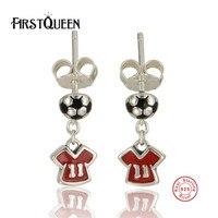 FirstQueen Genuine 100 925 Sterling Silver Enamel Sports Football Earrings Women Fashion Jewelry