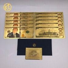 10 шт./лот, американский президент Дональд Трамп, американская долларовая Золотая банкнота, набор, позолоченные 1000 USD банкноты, Золотая фольг...