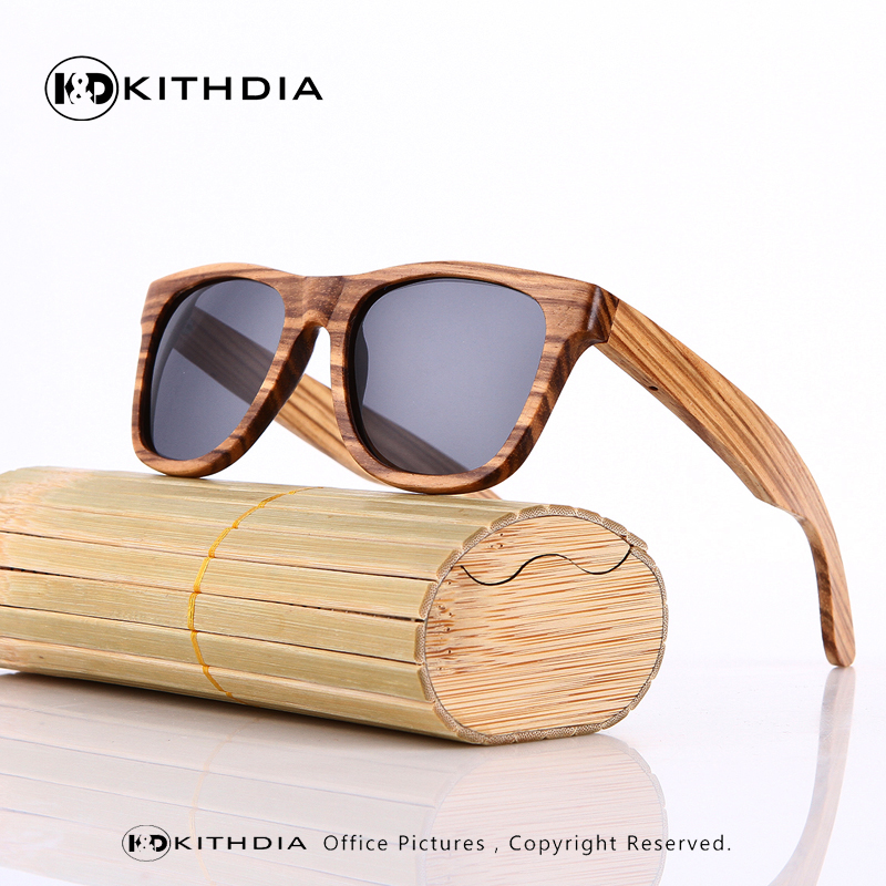 KITHDIA Wooden Sunglasses Polarized Men Bamboo Case Women Brand Designer Vintage Wood Sun Glasses Oculos de sol masculino